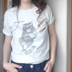 Cat on Cottontail Tee